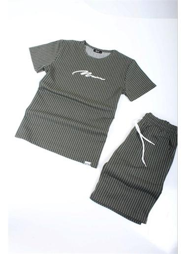 Oksit Oldrich Man Çizgili Nakış Işlemeli Slim Fit Erkek Şort Tshirt Takım Haki